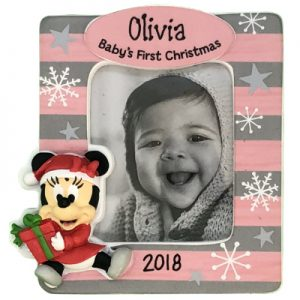 Minnie Mouse Baby's 1st Christmas Photo Holder Personalized Ornament