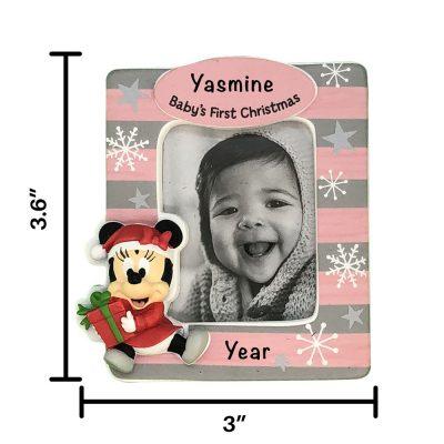Minnie Babys First Xmas Frame Personalized Ornament