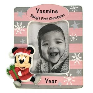 Minnie Mouse Baby's 1st Christmas Photo Frame Personalized Christmas Ornament