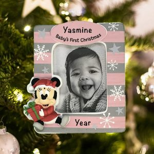 Personalized Minnie Baby's First Christmas Photo Holder Christmas Ornament