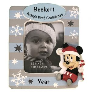 Mickey Mouse Baby's 1st Christmas Photo Frame Personalized Christmas Ornament