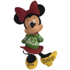 Minnie Christmas Sweater Disney Personalized Ornament