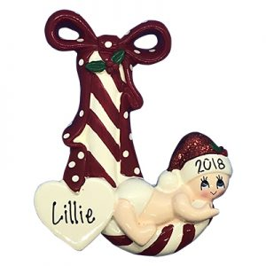 Baby Red Candy Cane Personalized Ornament