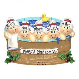 Hot Tub Heaven Family of 5 Personalized Ornament