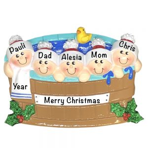 Hot Tub Family of 5 Personalized Christmas Ornament