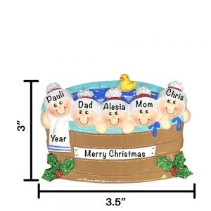 Hot Tub Heaven Family of 5 Personalized Christmas Ornament