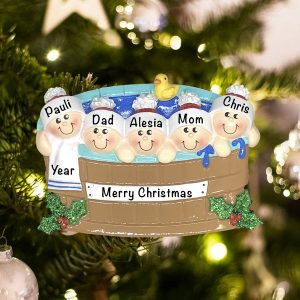 Personalized Hot Tub Heaven Family of 5 Christmas Ornament