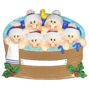 Hot Tub Family of 6 Personalized Christmas Ornament - blank