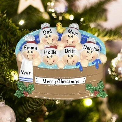 Personalized Hot Tub Family of 6 Christmas Ornament