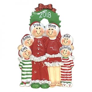 Christmas Pajama Family of 6 Personalized Ornament