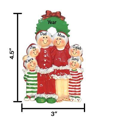 Christmas Pajama Family of 6 Personalized Christmas Ornament