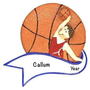 Basketball Boy Shooting Personalized Christmas Ornament