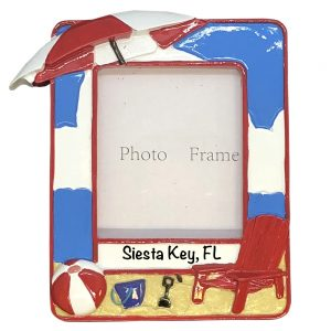 Beach Photoframe Personalized Christmas Ornament