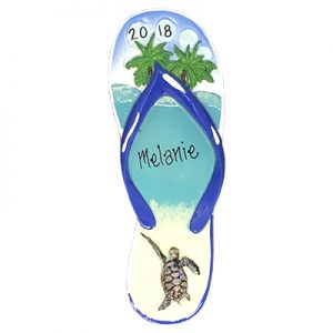 Flip Flop Turtle Island Personalized Ornament