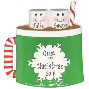 Marshmallow Mug Family of 2 Personalized Ornament