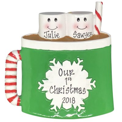 Marshmallow Couple Personalized Christmas Ornament