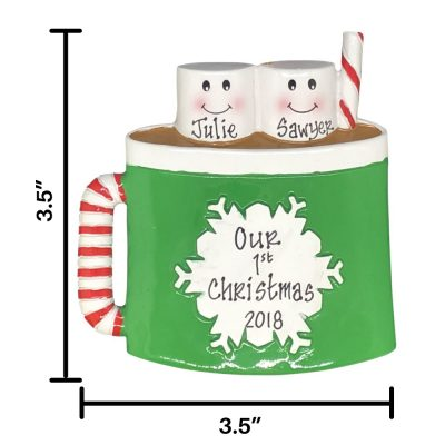 Marshmallow Mug Family of 2 Personalized Christmas Ornament