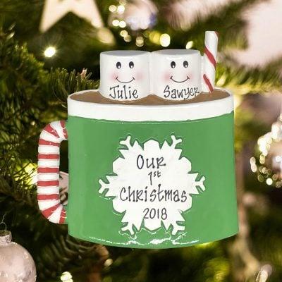 Personalized Marshmallow Mug Family of 2 Christmas Ornament