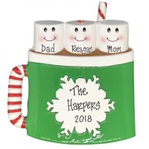 Marshmallow Mug Family of 3 Personalized Ornament