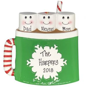 Marshmallow Family of 3 Personalized Christmas Ornament