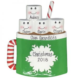 Marshmallow Mug Family of 4 Personalized Ornament
