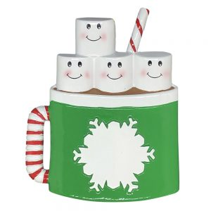 Hot Cocoa Family of 4 Personalized Christmas Ornament - Blank