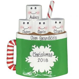 Marshmallow Family of 4 Personalized Christmas Ornament
