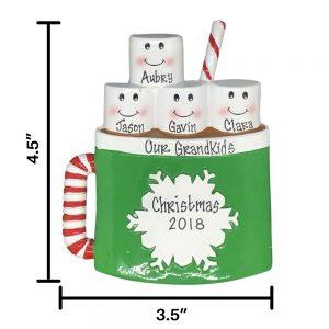 Marshmallow Mug Family of 4 Personalized Christmas Ornament
