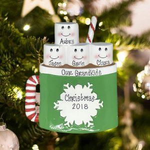 Personalized Marshmallow Mug Family of 4 Christmas Ornament