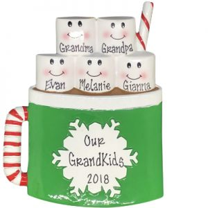Marshmallow Mug Family of 5 Personalized Ornament