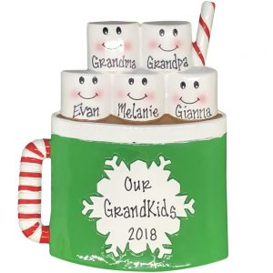 Marshmallow Family of 5 Personalized Christmas Ornament