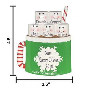 Marshmallow Mug Family of 5 Personalized Christmas Ornament