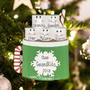 Personalized Marshmallow Mug Family of 5 Christmas Ornament