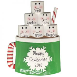 Marshmallow Mug Family of 6 Personalized Ornament