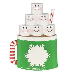 Hot Cocoa Family of 6 Personalized Christmas Ornament - Blank