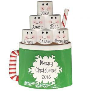Hot Cholocate Family of 6 Personalized Christmas Ornament