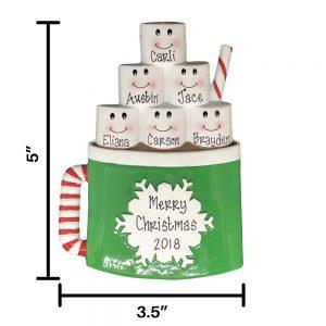 Marshmallow Mug Family of 6 Personalized Christmas Ornament