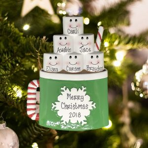 Personalized Marshmallow Mug Family of 6 Christmas Ornament
