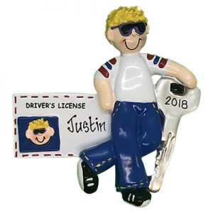 Driver License Guy Blonde Personalized Ornament