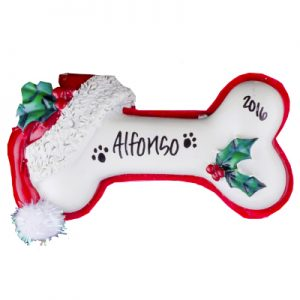 Dog Bone Santa Hat Personalized Ornament