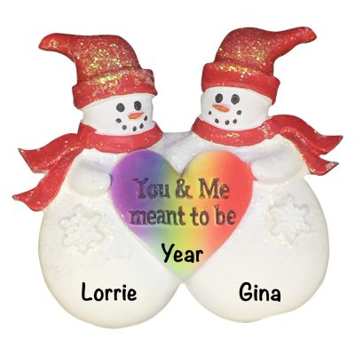Gay Snow Couple Personalized Christmas Ornament
