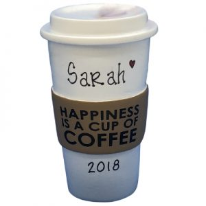 Coffee Cup Happiness Personalized Ornament