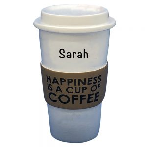 Coffee Cup Happiness Personalized Christmas Ornament