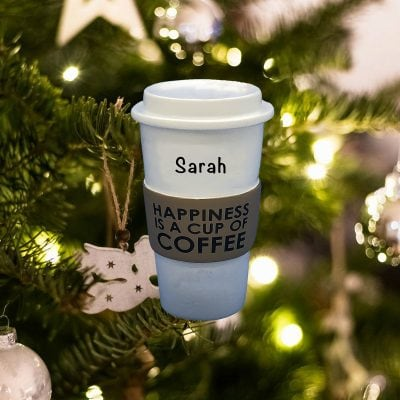 Personalized Coffee Cup Happiness Christmas Ornament