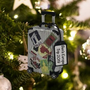 Personalized Travel Suitcase Christmas Ornament