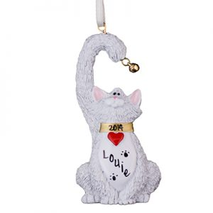 White Cat With Bell Personalized Ornament