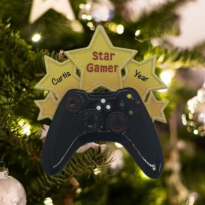 Personalized Video Game Star Christmas Ornament