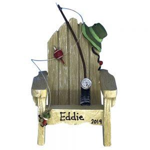 Adirondack Fishing Chair Personalized Christmas Ornament