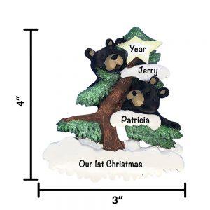 Black Bear Couple Personalized Christmas Ornament