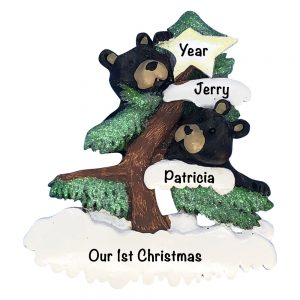 Black Bear Couple Personalized Christmas Ornament